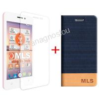 MLS FLIP CASE BLUE + TEMPERED GLASS FOR TREND 4G