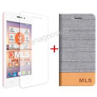 MLS FLIP CASE SILVER + TEMPERED GLASS FOR TREND 4G